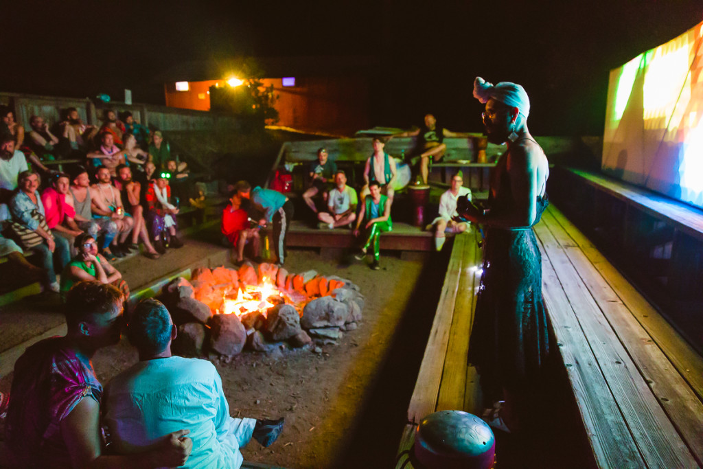 Grace Towers leads queer storytelling around Groundswell's campfire