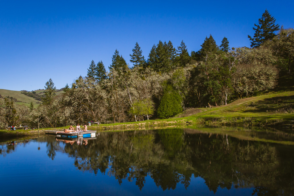 Lounging by the pond at Groundswell Institute northern california retreat center