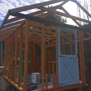 The chicken coop is completely framed at Groundswell ecovillage and retreat center
